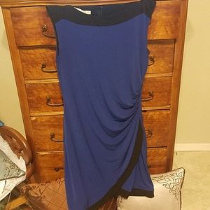 Navy Black Ruched Dress